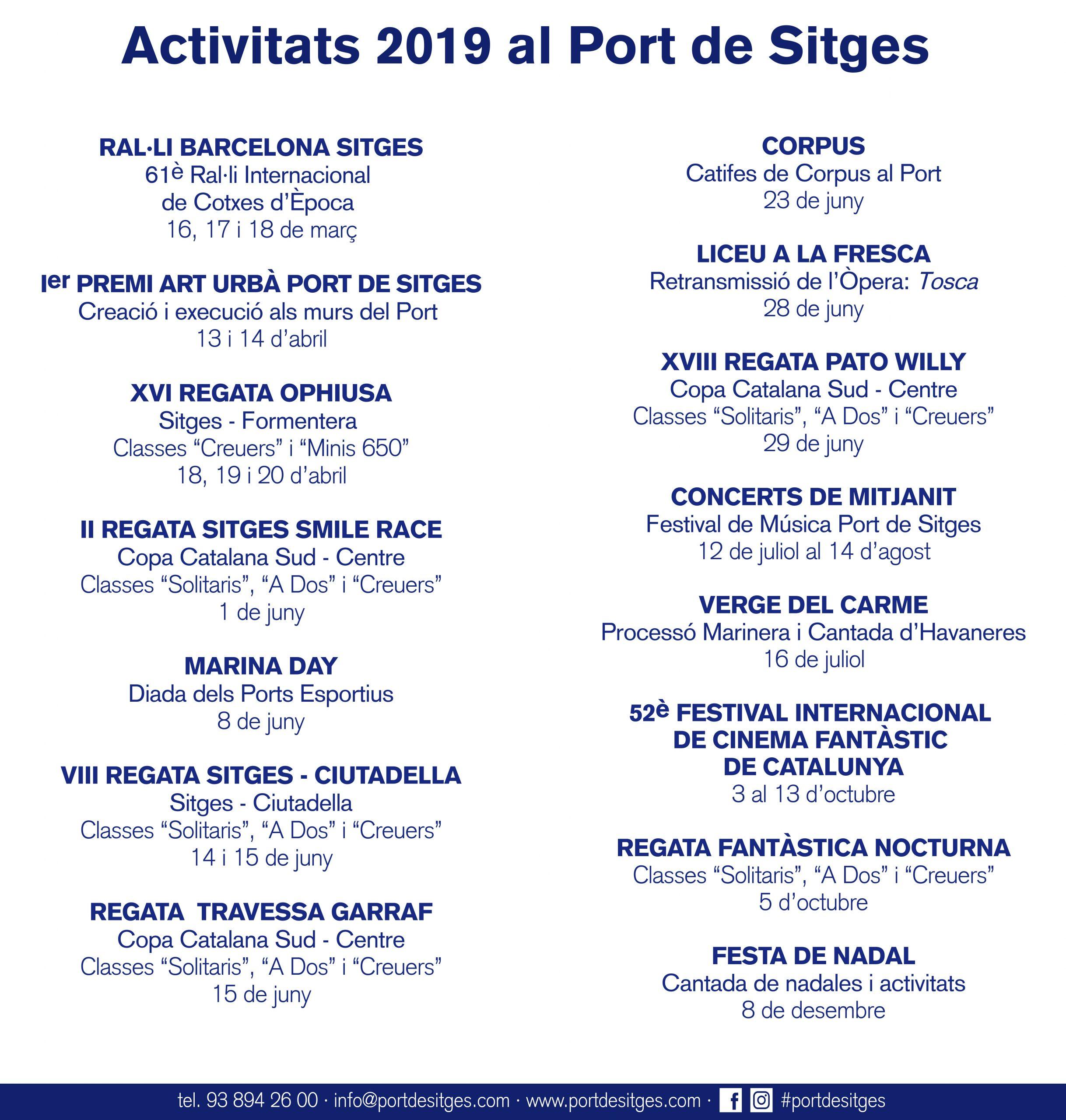 Calendari d'activitats del Port de Sitges aquest 2019