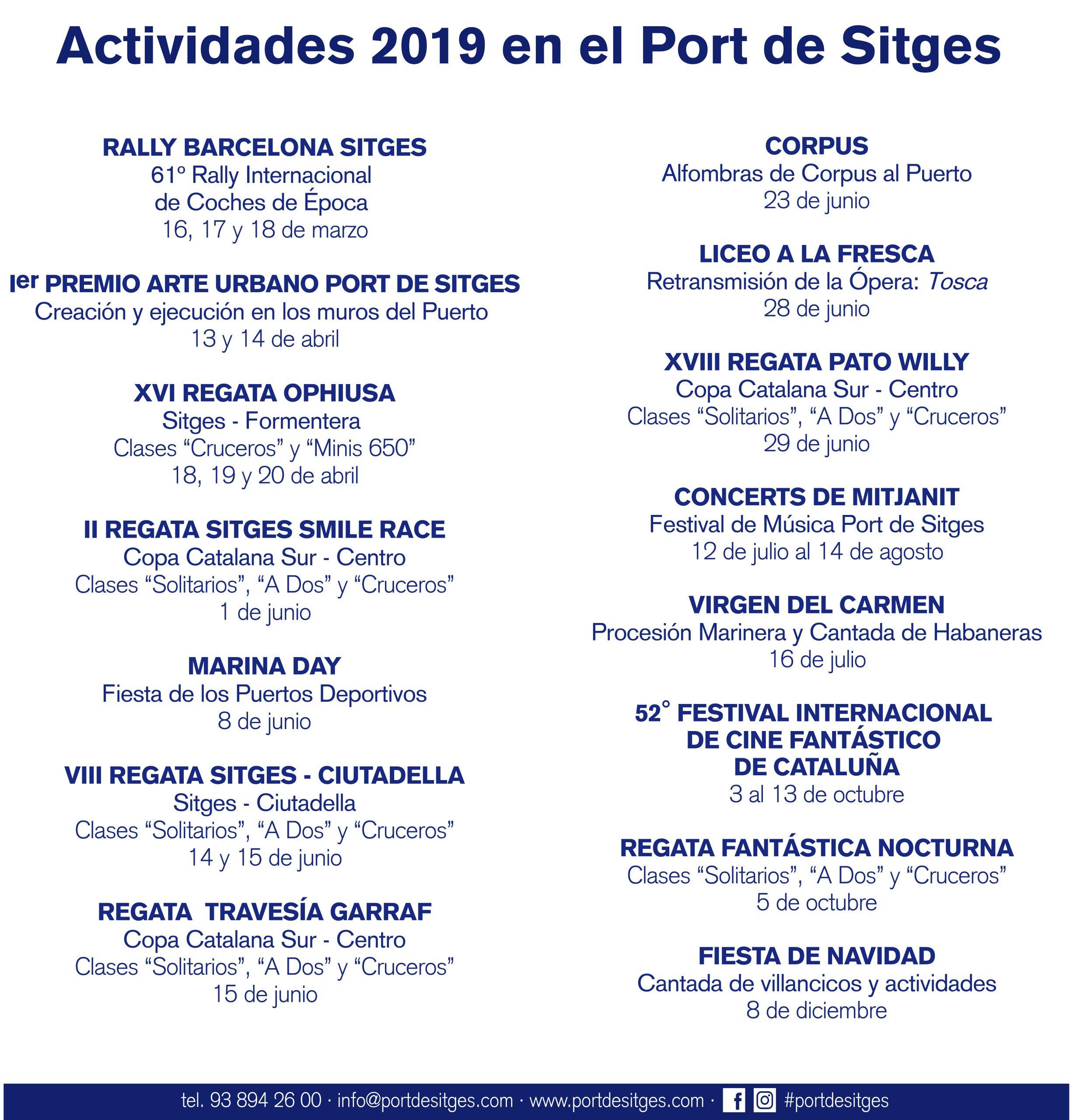 Calendario de actividades del Port de Sitges para 2019